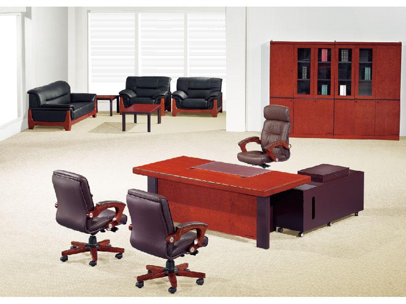 贴实木皮油漆办公家具大班桌大班台总裁桌老板桌大气实木