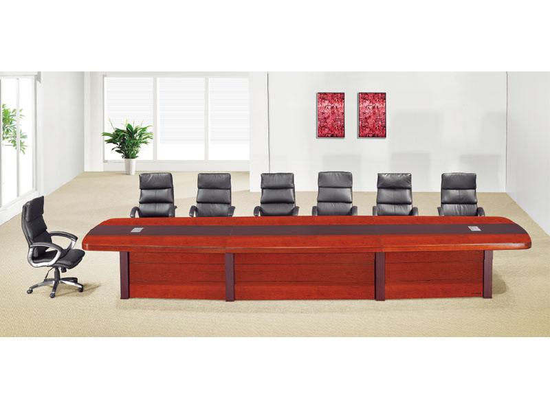 办公家具贴木皮红胡桃实木会议桌 油漆会议桌