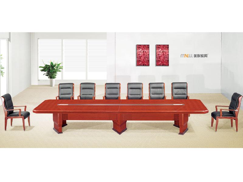 贴木皮红胡桃实木会议桌 油漆会议桌 开会桌子