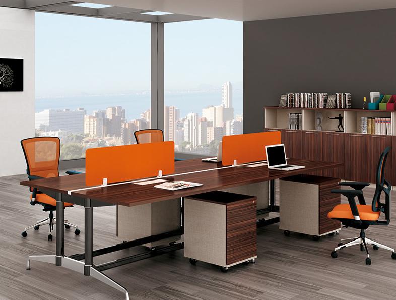 美耐家具现代员工电脑桌 屏风简约职员办公桌椅4人位组合