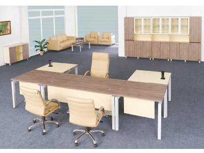 美耐家具胡桃木皮油漆大班台总裁台经理桌组合厂家直销