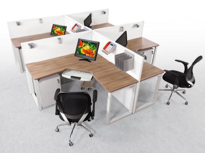 美耐四人位办公桌 职员桌员工台组合高档办公屏风台