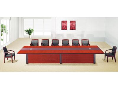 贴木皮红胡桃实木油漆会议桌条桌开会桌办公桌