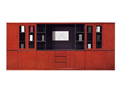 贴实木办公皮书柜 资料柜 高档豪华组合文件柜