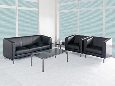 办公沙发 现代简约真皮时尚接待会客三人单人家具
