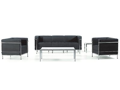 办公家具真皮办公沙发 现代简约不锈钢会客接待沙发