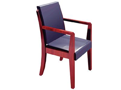 办公家具实木会议/四脚带扶手椅黑色皮艺主管