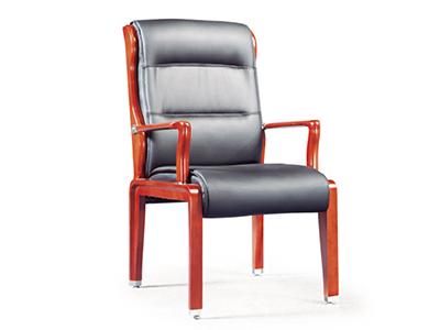 木质皮艺会议椅 实木办公椅 靠背椅弓形 培训椅