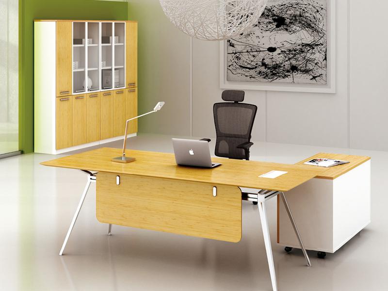 美耐家具老板桌主管台钢木办公桌椅组合创意简约现代厂家