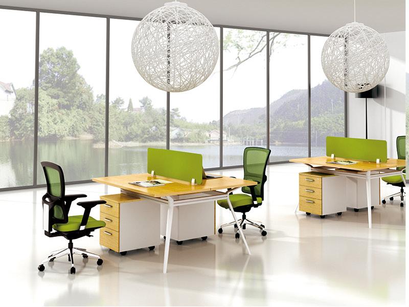 美耐家具办公桌2人工作位时尚钢架职员桌简约电脑桌组合屏风隔断