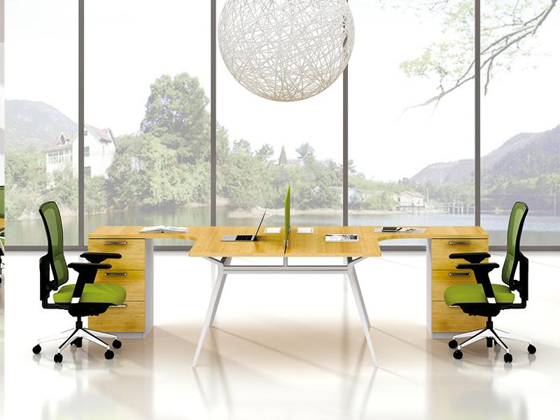 美耐家具 时尚钢架组合双人工作位 简约2人职员电脑桌 办公桌办公家具
