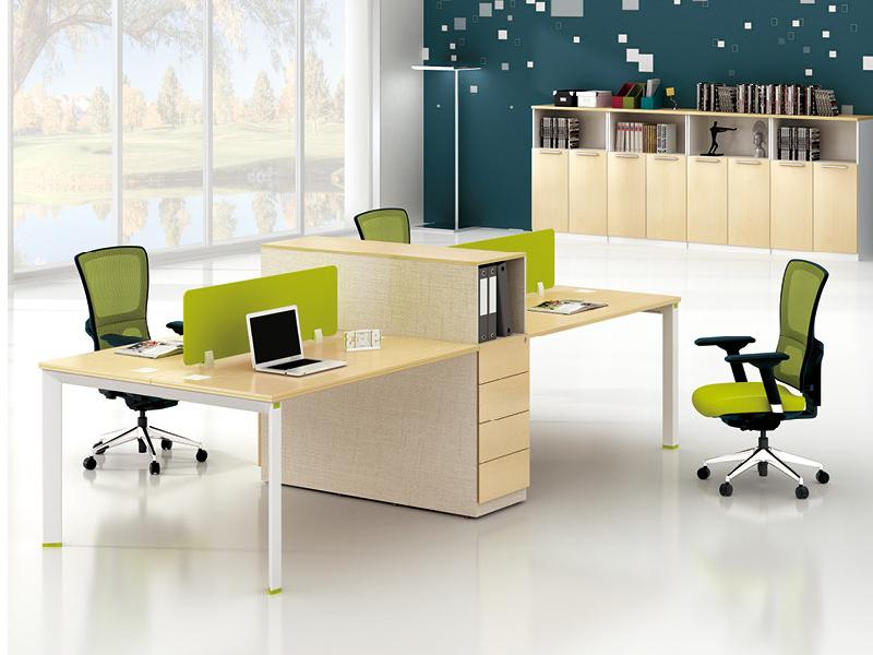 美耐家具 办公桌 简约现代员工桌4人屏风桌员工卡位桌椅组合