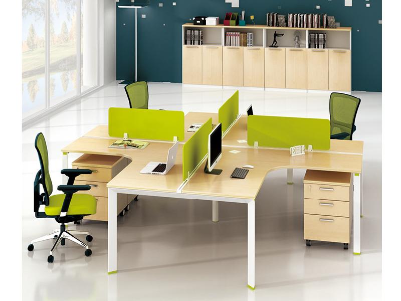 美耐家具 员工办公桌4人位现货时尚简约L型现代组合工作位