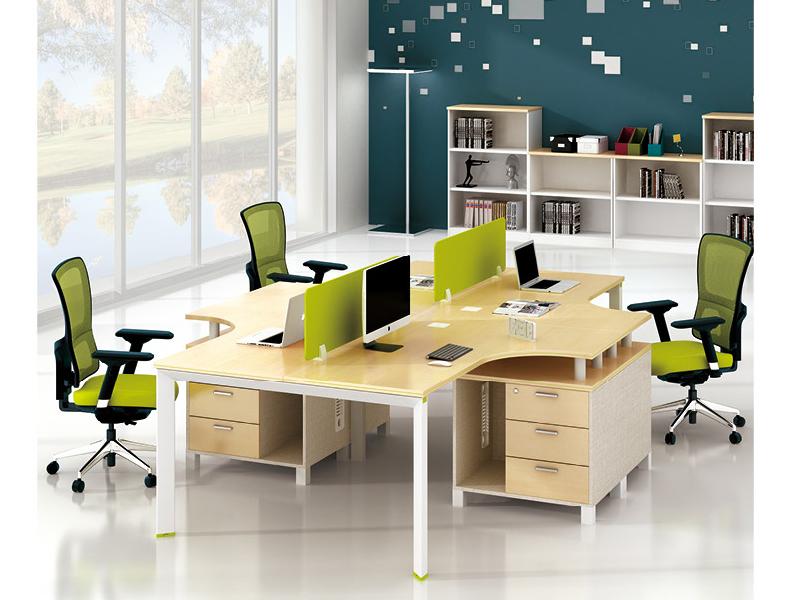 美耐家具 员工办公桌4人位职员卡位组合/时尚简约现代钢架4人电脑桌L型四人