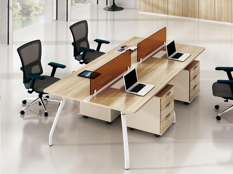 美耐家具 简约时尚现代屏风办公桌员工桌组合工作位4人职员桌