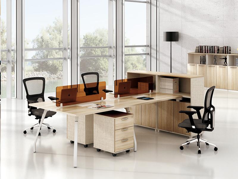 美耐家具 电脑桌时尚简约现代组合屏风职员工作位4人位办公桌