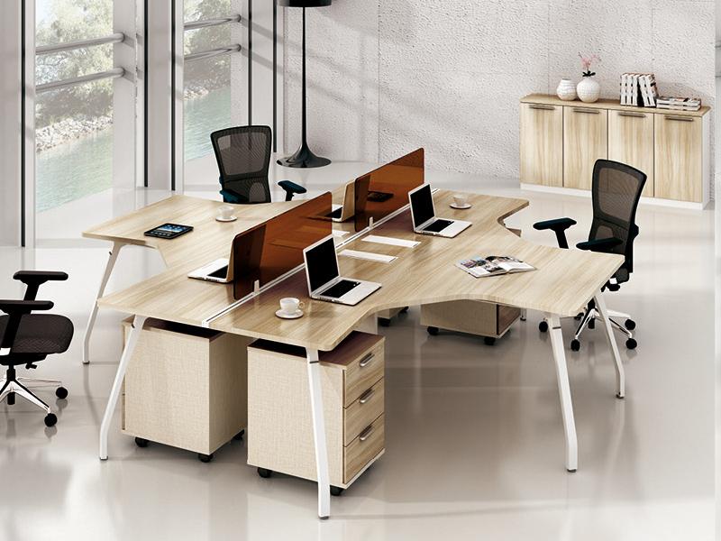 美耐家具 办公电脑桌职员桌屏风工作位 L型4人工作位组合
