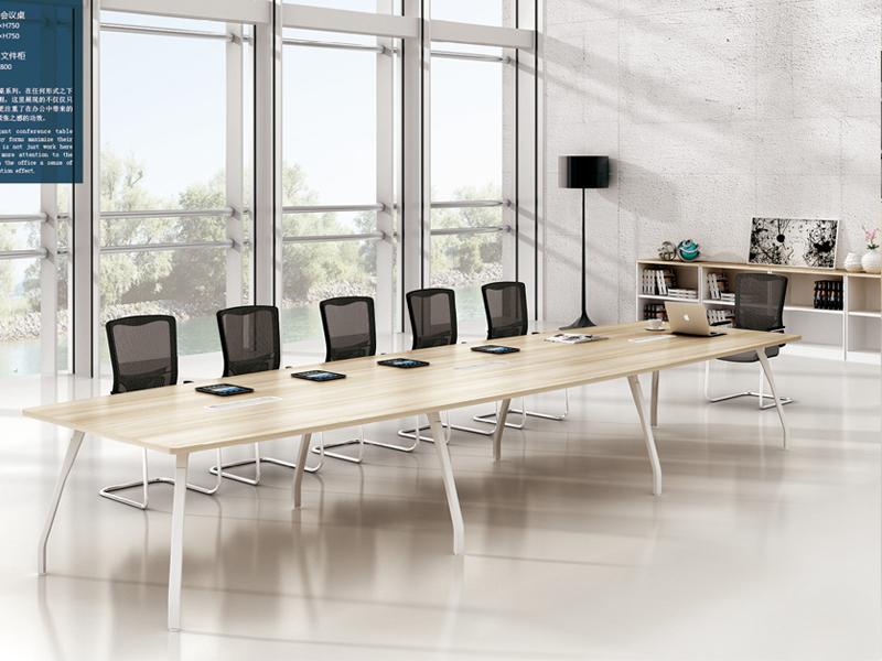 美耐家具 办公简易版大小型会议桌简约现代洽谈桌钢木条形培训桌